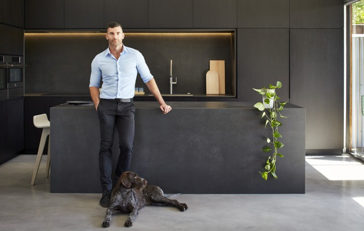 Modern-Kitchen-White-Gray-Chairs-Home-Design-Newman-Construction-Black-Tile