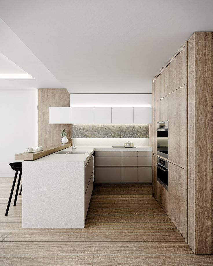 Modern-Kitchen-White-Gray-Chairs-Home-Design-Newman-Construction-Blonde-Wood